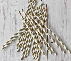 24 Gold Straws Metallic Shimmering Gold Paper Straws Striped Paper Drinking Straws - For your birthday party drink, cake pops, drink strirrers wedding or crafts