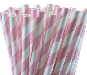 24 light Pink Paper Straws Striped Paper Drinking Straws - For your birthday party drink, cake pops, drink strirrers wedding or crafts