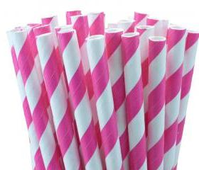 24 Pink Paper Straws Striped Paper Drinking Straws - For your birthday party drink, cake pops, drink strirrers wedding or crafts