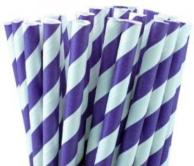 24 Purple Paper Straws Striped Paper Drinking Straws - For your birthday party drink, cake pops, drink strirrers wedding or crafts